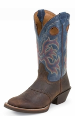 "Men's Justin Punchy 12"" Rawhide Boots - Blue/Dark Brown"