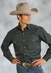 Men's Roper Long Sleeve Solid Western Snap Shirt - Green