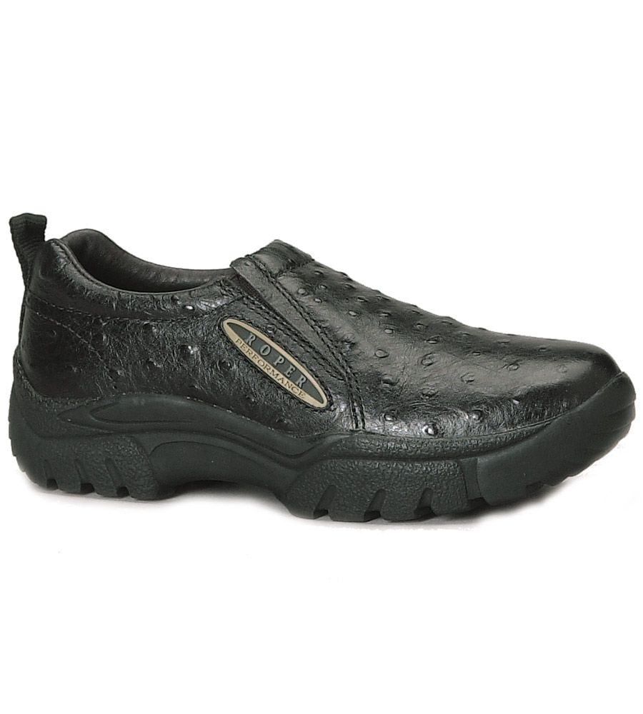 s roper slip on shoes clogs black ostrich