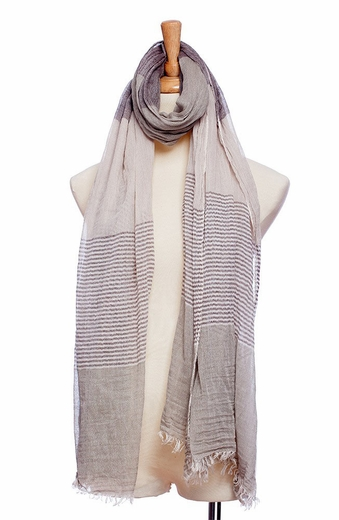 Mianru Womens Nautical Stripe Scarf - Putty