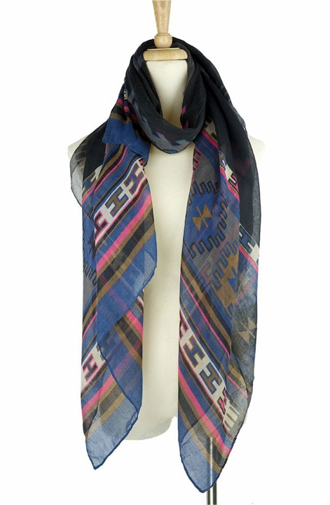 Mianru Womens Southwest Scarf - Grey (Closeout)