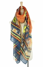 Mianru Womens Southwest Scarf - Orange (Closeout)