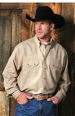 Miller Ranch Men's Long Sleeve Fine Wool Western Snap Shirt - Khaki (Closeout)