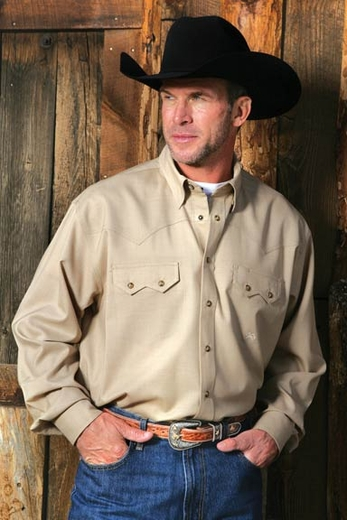 Miller Ranch Men's Long Sleeve Fine Wool Western Snap Shirt - Khaki