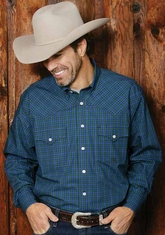 Miller Ranch Men's Long Sleeve Plaid Button Down Dress Shirt - Blue