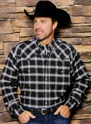 Miller Ranch Men's Long Sleeve Western Plaid Fine Line Twill Snap Shirt - Black