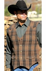 Miller Ranch Men's Wool Button Down Plaid Vest - Brown
