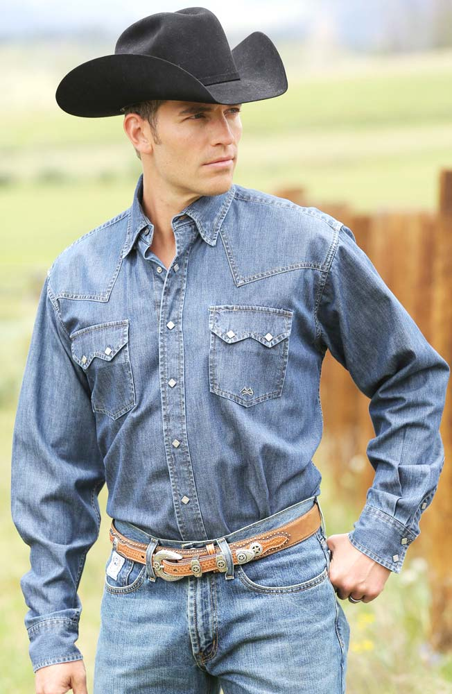 Miller Ranch Mens Long Sleeve Denim Snap Western Shirt - Stone