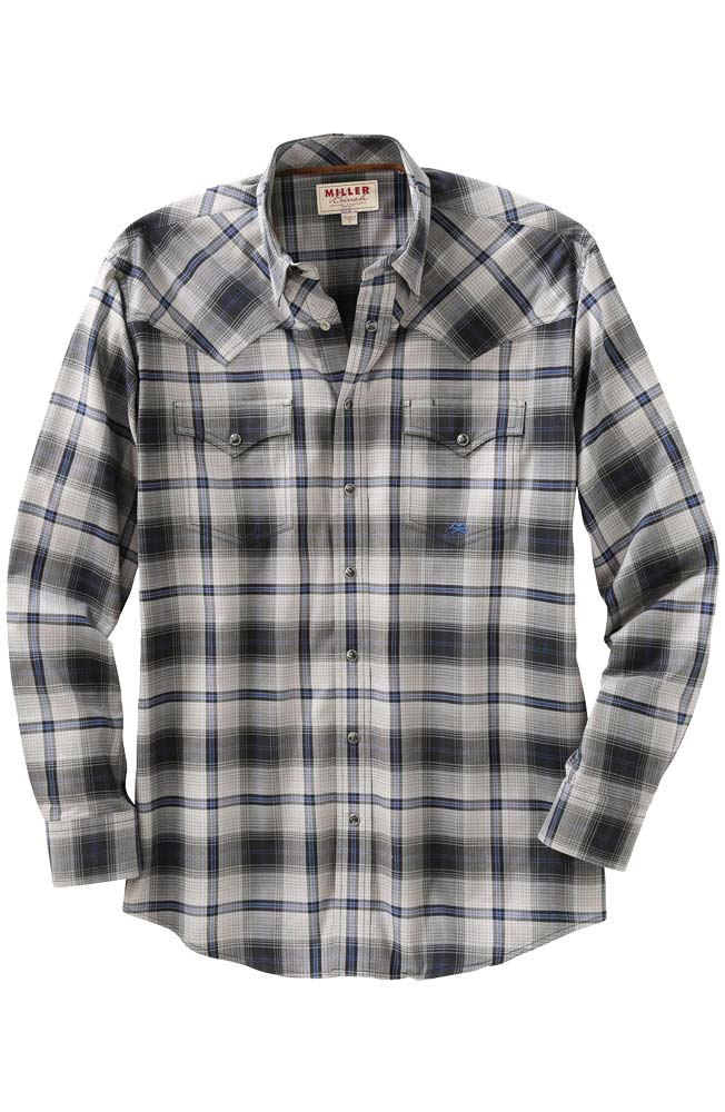 Miller Ranch Mens Long Sleeve Plaid Snap Western Shirt - Grey