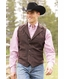 Miller Ranch Mens Plaid Wool Button Down Vest - Brown