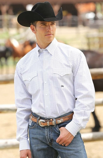 Miller Ranch Mens Long Sleeve Check Button Down Western Shirt - White