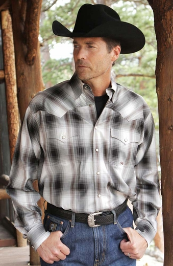 Miller Ranch Mens Long Sleeve Twill Snap Western Shirt - Grey