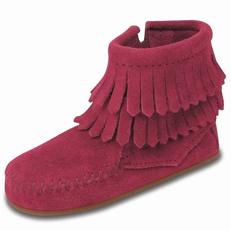 Minnetonka Infant's Double Fringe Side Zip Bootie - 3 Colors