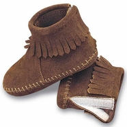 Minnetonka Infant's Velcro Back Flap Suede Bootie - 2 Colors