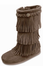 Minnetonka Kid's 3-Layer Fringe Side Zip Boots - 4 Colors