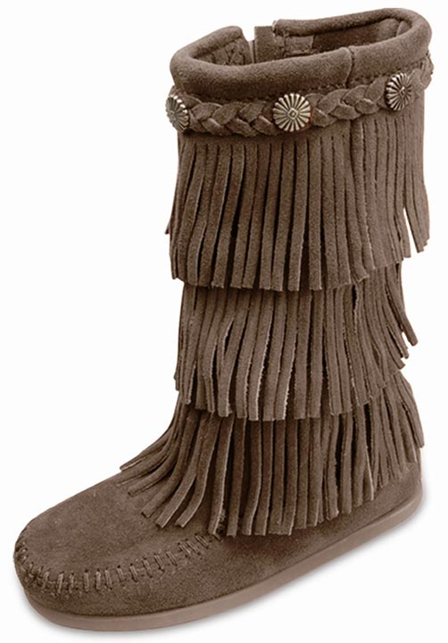Minnetonka Kid's 3-Layer Fringe Side Zip Boots - Dusty Brown