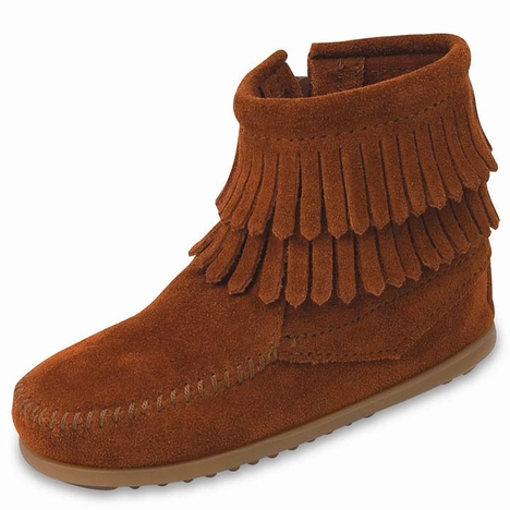 Minnetonka Kid's Double Fringe Side Zip Boots - 4 Colors
