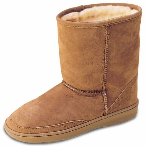 Minnetonka Kid's Short Sheepskin Pug Boots - Golden Tan