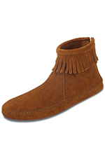 Minnetonka Woman's Back Zipper Ankle Hi Fringe Boots (Closeout)