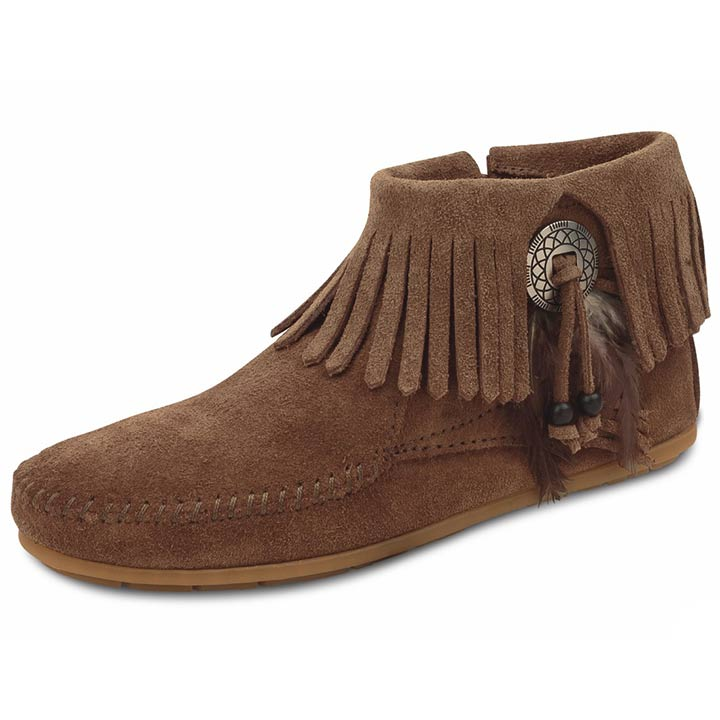 Minnetonka Women's Concho/ Feather Side Zip Boots - 3 Colors