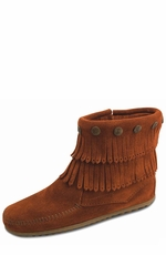 Minnetonka Women's Double Fringe Side Zip Boots - 5 Colors