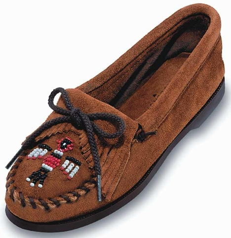 Minnetonka Women's Thunderbird Suede Boat Sole Moccasin - Brown