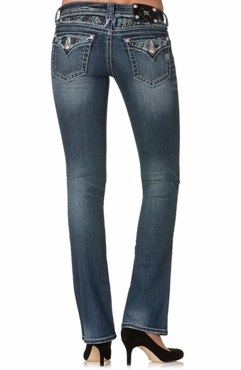 Miss Me Womens Flap Swirl Stone Boot Cut Jeans - Medium Stone
