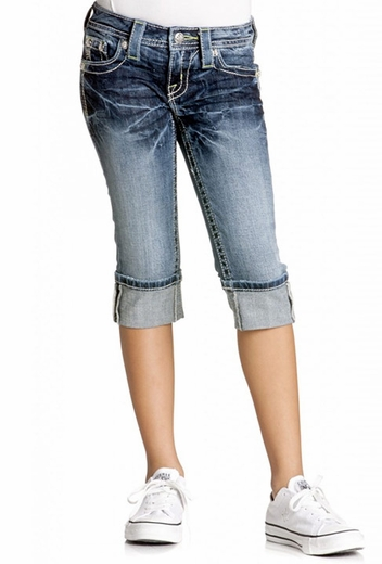 Miss Me Girl's Denim Capri with Retro 60's Pocket Border - MK 146 (Closeout)