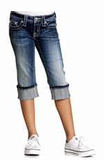 Miss Me Girl's Denim Capri with Rough Sketched Border - LT 41