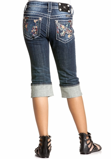 Miss Me Girls 60's Bird Floral Embroidery Cuffed Capri - DK 186 (Closeout)