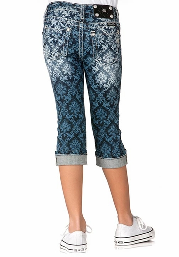 Miss Me Girls All Over Fleur de Lis Print Cuffed Capri (Closeout)