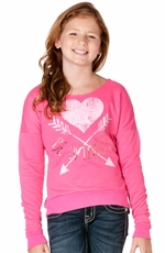 "Miss Me Girls ""Be Optimistic"" Sweater - Neon Pink (Closeout)"