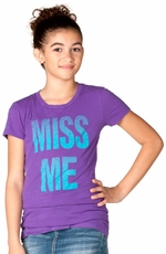 Miss Me Girls Bold Print Tee Shirt - Purple