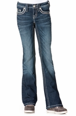 Miss Me Girls Boot Cut Leather Lurex Jeans - DK207 (Closeout)