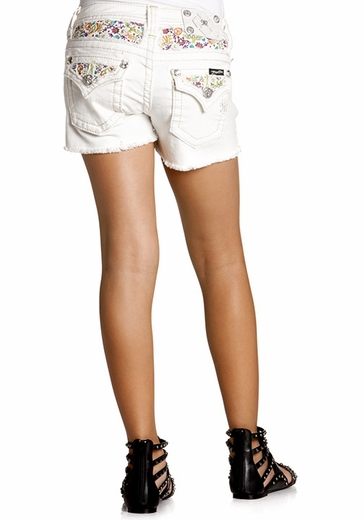 Miss Me Girls Colorful Paradise Frayed Shorts - White
