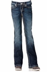 Miss Me Girls Diamond Angel Wing Boot Cut Jeans - DK220