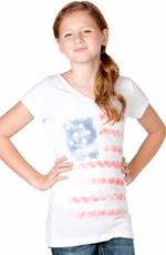 Miss Me Girls Stars and Stripes Top - Off White
