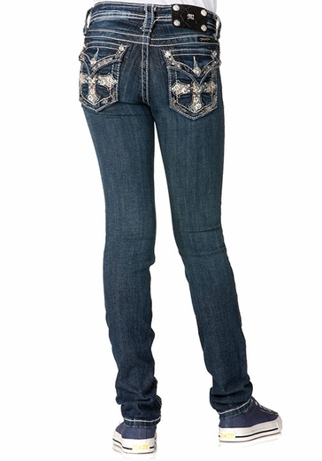 Miss Me Girls Hidden Cross Skinny Jeans - MK 172