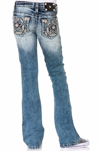 Miss Me Girls Boot Cut Jeans - MED 176 (Closeout)