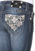 Miss Me Girls Reddish French Cross Boot Cut Jeans - MK214
