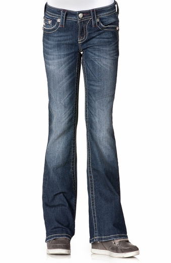 Miss Me Girls Reddish French Cross Boot Cut Jeans - MK214 (Closeout)