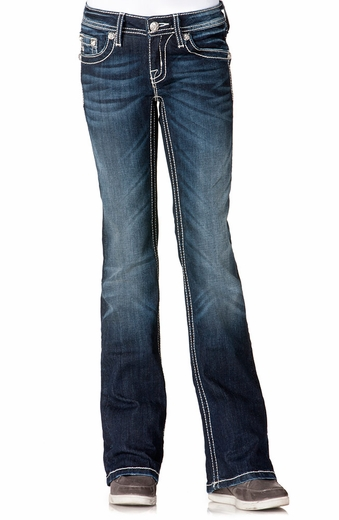 Miss Me Girls Diamond Angel Wing Boot Cut Jeans - DK220 (Closeout)