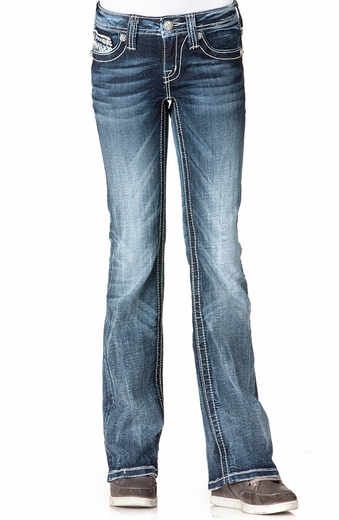 Miss Me Girls Discharge Rodeo Patch Boot Cut Jeans - MK198 (Closeout)
