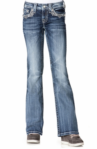 Miss Me Girls Floral Flap Boot Cut Jeans - MED145