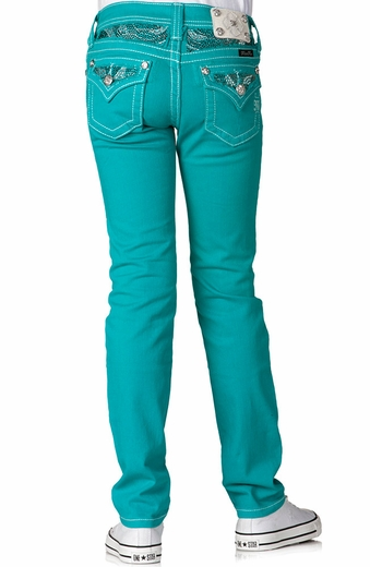 Miss Me Girls Three Color Rhinestone Insert Colored Skinny Jeans - Peacock (Closeout)