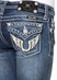 Miss Me Girls Winged Horseshoe Boot Cut Jeans - DK 189