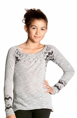 Miss Me Girls Long Sleeve Striped Back Zig-Zag Accented Shirt - Heather Gray