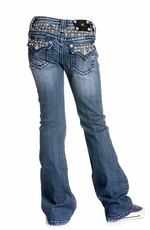 Miss Me Girls Pearl and Stud Insert Boot Cut Jeans - MED 96