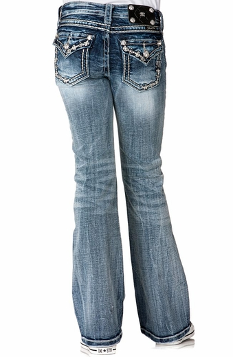 Miss Me Girls Petite Fleur De Lis Border Boot Cut Jeans - MED 118 (Closeout)