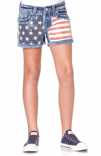 Miss Me Girls Sequin Flag Shorts - Light Wash